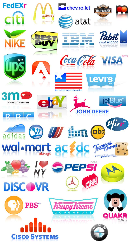 """Loga známých firem ve stylu """"Web 2.0"""""""